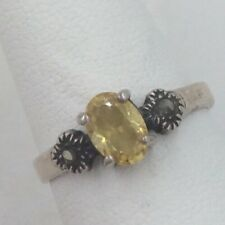 Sterling Silver Snythetic Yellow Topaz & Marcasite Ring Size 6.75 2.1 Grams