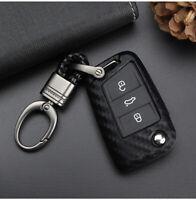 Für VW Golf 7 Polo Touran Passat B8 Skoda Kohlefaser AUTO Schlüssel Hülle Cover