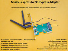 Minipci-Express/ Minicard to PCI-Express/PCI-e x1 Adapter +Pigtails +Antenna