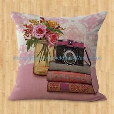 US SELLER- cheap pillow covers for vintage floral camera books cushion cover