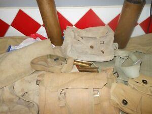 WW2 LOT ANGLAIS SAC MUSETTE SANGLE SMALL LARGE PACK DRAPEAU CARTOUCHIERE.....