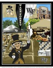 """Wake Forest Demon Deacons Cotton Fabric Panel with Tailgating Mascot-43"""" x 36"""""""