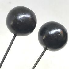 2 Antique Hat Pins. Matched Pair of Pitch-black Spheres. Celluloid Collectible!