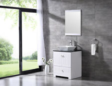 "Modern 24"" Bathroom Vanity Pvc Cabinet Ceramic Vessel Sink Combo w/Glass Top Set"