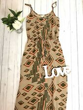 Monsoon Sz 8 Orange Aztec Patterned Maxi Dress Holiday Occasion Beach Strappy