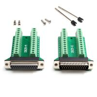 D-SUB DB25 MALE or FEMALE RS232 Serial Connector Breakout Board Screw Terminals