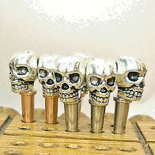 6- 100% Tibetan  Silver Skull-Top Cribbage Pegs 3-Brass + 3-Copper, Velvet Bag a