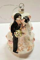 Wedding Cake Groom & Bride Christmas Ornament Mercury Glass