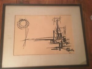 "Vintage ""Abstract Scene"" Ink Drawing - Signed And Framed 1950s"