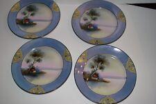 Noritake Lusterware Handpainted Art Deco House Landscape Scene Tranquil Plates 4
