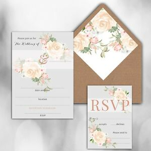 PACK OF 10 x BLANK IVORY,PINK GREY & ROSE GOLD PRINT WEDDING INVITATIONS