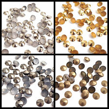 100 & 50pcs Round Top Pointed Nail Head Hot Fix Iron on Stud in 4 Various Colour