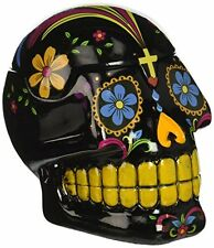 Black Day of the Dead Sugar Skull Mexican Dia De Los Muertos Trinket Box, New
