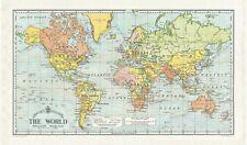Cavallini - 100% COTONE NATURALE VINTAGE Asciugamani - 80 x 47cms-mappa del mondo