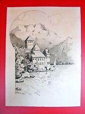 Dessin Paysage Art Nouveau 1 CHATEAU DE CHILLON Signé Eugène Verel