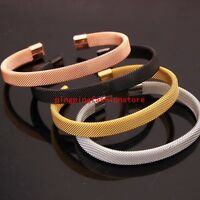 Fashion 316L Stainless Steel Silver/Gold/Black/Rose Gold Mens Womens Cuff Bangle