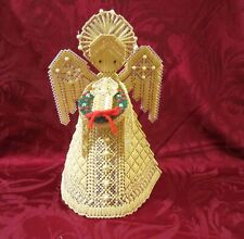 Handmade Woven Raffia Christmas Angel With Baby For Tree Top or Table Top