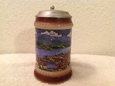 "Luzern~Lucerne~Switzerland~Flat Lidded Beer Stein~7"" Tall~Free US Shipping"