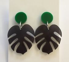 Monstera Leaf Dangle Earrings, Transparent Black & Green Acrylic, Surgical Stud