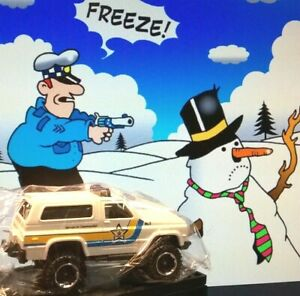 Chevy Blazer 1989 Police Truck White 4X4 Matchbox 1/64