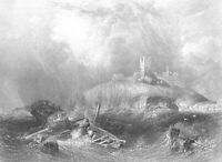 Northumberland DUNSTANBURGH CASTLE SHIPWRECK IN STORM ~ 1842 Art Print Engraving