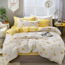 Yellow Floral Bedding Set Luxury Flowers Duvet Cover Set Lucky Clovers and Plaid