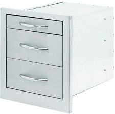 Outdoor Kitchen Storage 18 inch Wide 3Drawers Extra-Large Handle Stainless Steel