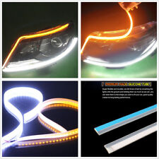 "2*9-16V 24"" 60cm Ultrathin Flexible Amber+White LED Flowing Turn Signals Fog DRL"