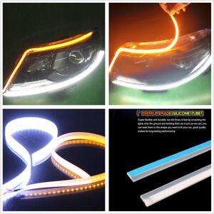"""2*9-16V 24"""" 60cm Ultrathin Flexible Amber+White LED Flowing Turn Signals Fog DRL"""
