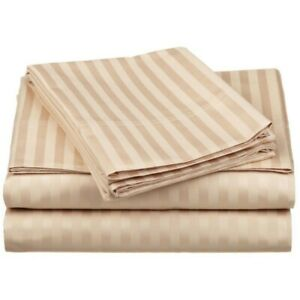 King Tan Striped 4 Piece Bed Sheet Set 1000 Thread Count 100% Egyptian Cotton