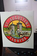 Vintage Saint Augustine FL oldest city transfer Auto suitcase decal 1960's