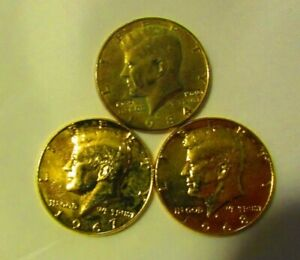 1967, 1968D, 1984P Gold Plated Halves*'67,'68D 40% Silver*'84 Stamped 1960-1980