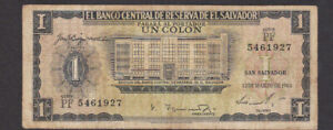 1 COLON FINE BANKNOTE FROM EL SALVADOR 1964 PICK-100