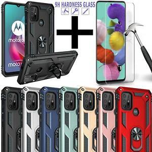 For Motorola Moto G10 G30 Case Slim Shockproof Ring Stand Cover + Tempered Glass
