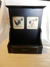 Black Wooden Mail Letter Holder with Two Rooster Pictures Hangs on Wall