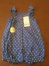 New w/Tags Carters Infant Girls Romper Bodysuit, Size 3M, Poka Dot w/Crab