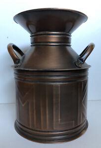 Vintage Faux Milk Can Vase Jar Farmhouse Home Decor Accent Metal Copper Color
