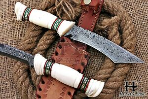HUNTEX Custom Handmade Damascus 280 mm Full-Tang Camel Bone Hunting Tanto Knife
