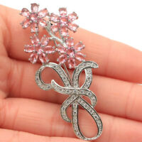 58x25mm Beautiful Flowers Shape Pink Morganite White CZ Woman's Silver Brooch