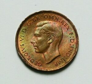 1947 UK (British) George VI Coin - Farthing - superior color toning - rim dents
