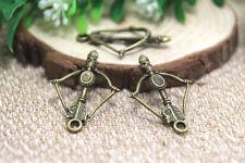 15pcs -- antique bronze tone arc et flèche charms pendentif 25x26mm