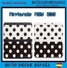 Cubierta Carcasa Case Nintendo New 3DS  puntos blanco negro N3DS Funda Cover