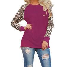 UK Womens Long Sleeve Leopard Print T-Shirt Ladies Casual Tops Blouse  Plus Size