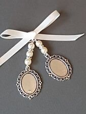 Wedding Bouquet Photo Charm Double Locket with Ivory Pearls and Gift bag