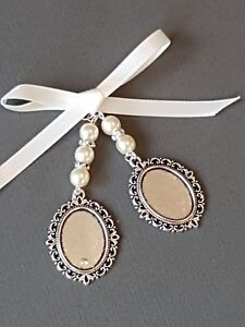 A lovely Wedding Bouquet Photo Charm Double Locket with Ivory Pearls & Gift bag