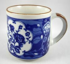 Coffee Mug Cup Asian Blue White Floral Roses w/ Brown Trim Made in Korea Vintage