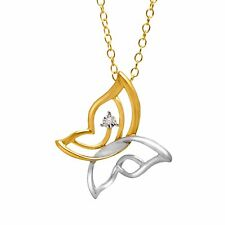 Butterfly Pendant with Diamond in Sterling Silver & 14K Gold