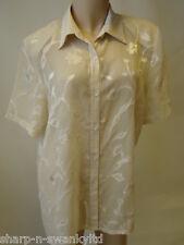 mujer beige floral manga corta TRANSPARENTE Blusa Camisa RU 18 EU 46