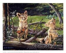 Wolf Puppies/Cubs: Unexpected Guests - Beautiful 11x9 In. Art Print