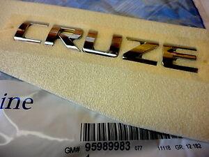 Chevrolet Cruze Rear Deck Lid/ Trunk Chrome Cruze Emblem Nameplate OEM New